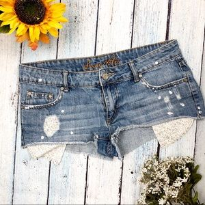 Love Notes Distressed Denim Shorts